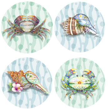 Tropicool Shell and Crab Collection Beverage Coasters, Set of 8