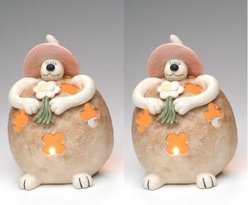 Fatty Cat Tea Light Candle Holder, Set of 2