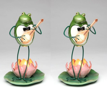Frog Playing Guitar Porcelain Tea Light Candle Holder, Set of 2