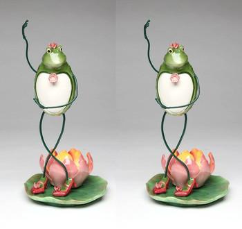 Dancing Frog Porcelain Tea Light Candle Holder, Set of 2