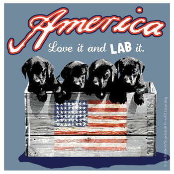America Love it and Lab it Beverage Coasters by Jim Baldwin, Set of 8