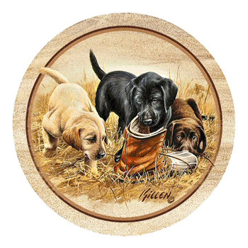 Three to Boot Puppies Sandstone Coasters by Jim Killen, Set of 8