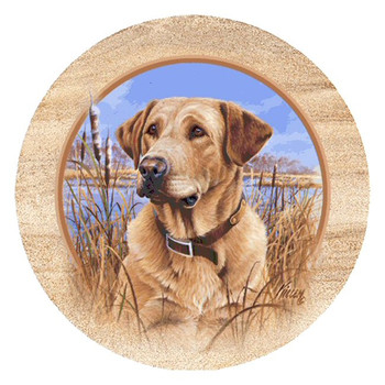 Yellow Lab Dog Sandstone Beverage Coasters by Jim Killen, Set of 8