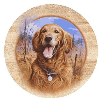 Golden Retriever Dog Sandstone Coasters by Jim Killen, Set of 8