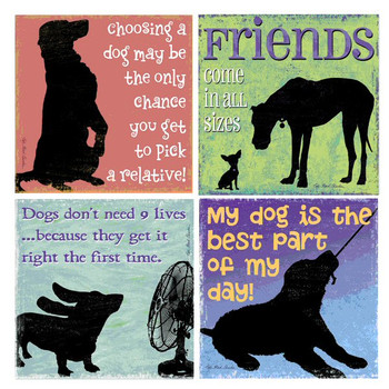 Friends Come in All Sizes Dog Coasters by Kate Ward Thacker, Set of 8