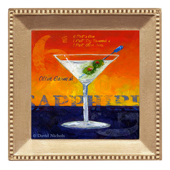 Sapphire Martini Beverage Coasters, Set of 8