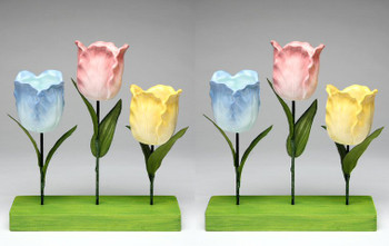 Tulip Tea Light Candle Holder with Stand, Set of 2