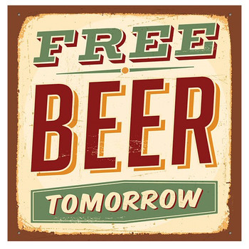 Free Beer Tomorrow Absorbent Beverage Coasters, Set of 8