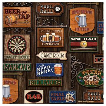Game Room Absorbent Beverage Coasters by Dan Morris, Set of 8