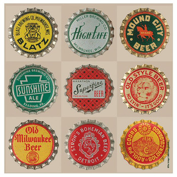 Cheers Beer Tops Absorbent Beverage Coasters, Set of 8