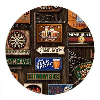 Game Room Sandstone Round Beverage Coasters by Dan Morris, Set of 8