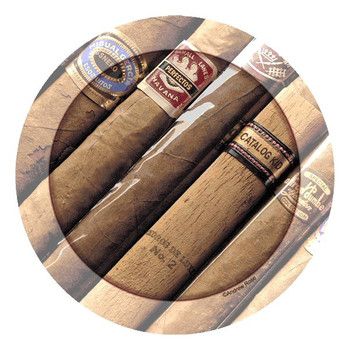 Smokin' Layout Cigar Round Beverage Coasters by Andrew Rose, Set of 8