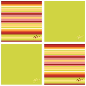 Fiesta Lemongrass Warm Stripe Absorbent Beverage Coasters, Set of 8