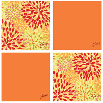 Fiesta Tangerine Warm Calypso Absorbent Beverage Coasters, Set of 8