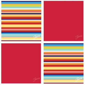 Fiesta Scarlet Multi Stripe Absorbent Beverage Coasters, Set of 8