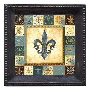 Blue Fleur De Lis I Absorbent Coasters by Richard Henson, Set of 12