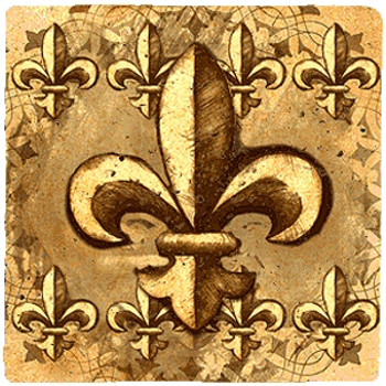 Fleur de Lis Groups Travertine Stone Beverage Coasters, Set of 8