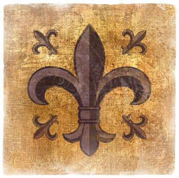 Multi Fleur De Lis Travertine Stone Beverage Coasters, Set of 8