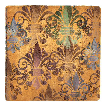 French Manor Fleur De Lis Travertine Coasters by Tara Reed, Set of 8
