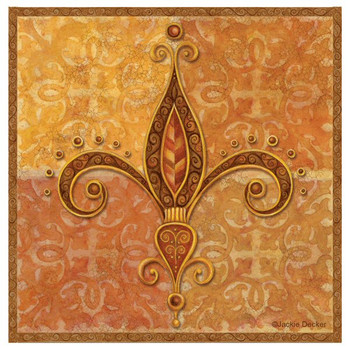 Golden Jewel Fleur De Lis Coasters by Jackie Decker, Set of 8