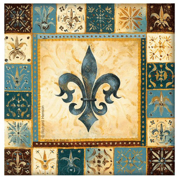 Blue Fleur De Lis I Beverage Coasters by Richard Henson, Set of 8