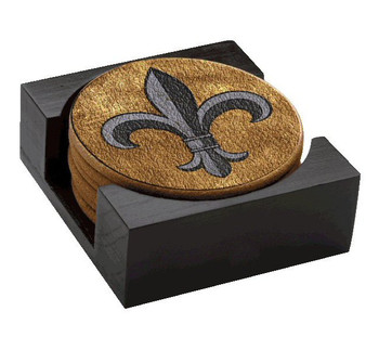 Fleur De Lis Cork Beverage Coasters, Set of 14