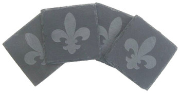 Etched Fleur De Lis Natural Slate Beverage Coasters, Set of 8