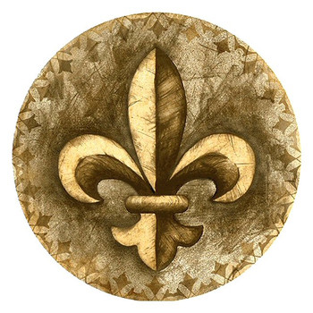Fleur De Lis Sandstone Round Beverage Coasters, Set of 8