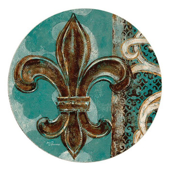 Teal Fleur De Lis Sandstone Round Beverage Coasters, Set of 8