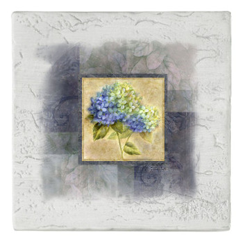 Blue Hydrangea Flower Beverage Coasters, Set of 8