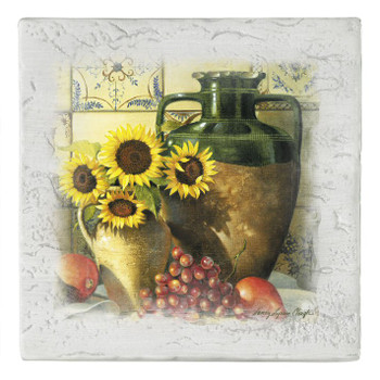 Old World, New Morning Sunflowers Beverage Coasters, Set of 8