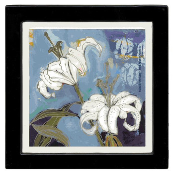 White Lily Flower Beverage Coasters by Lisa Snow Lady, Set of 8