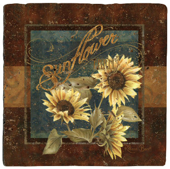 Sunflower Farm Travertine Stone Beverage Coasters, Set of 8