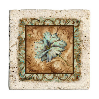 Blue Poppy Flower Travertine Stone Beverage Coasters, Set of 8
