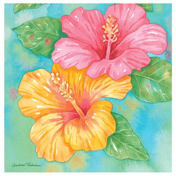 Hibiscus Garden Pair Absorbent Coasters by Andrea Tachiera, Set of 8