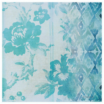 Teal Floral Facade Absorbent Beverage Coasters, Set of 12