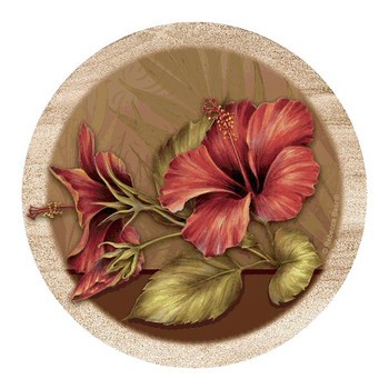 Hibiscus Flower Sandstone Beverage Coasters by Rebecca Baer, Set of 8