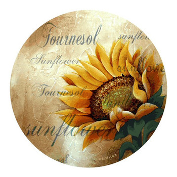 Sunflower Sandstone Beverage Coasters by Linda Lock, Set of 8