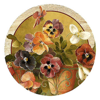 Pansies Flowers Sandstone Coasters by Fabrice de Villenueve, Set of 8