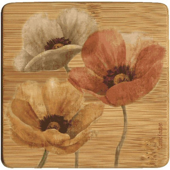 Poppy Flower Allure II Beverage Coasters, Set of 8