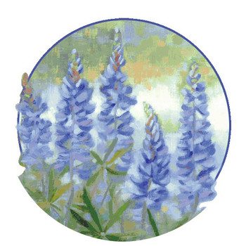 Bluebonnets Flower Absorbent Round Beverage Coasters, Set of 8