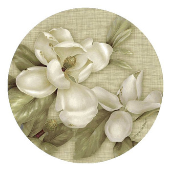 Magnolia Flowers Round Beverage Coasters by Rebecca Baer, Set of 8