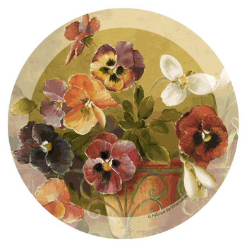 Pansies Flowers Round Coasters by Fabrice de Villeneuve, Set of 8