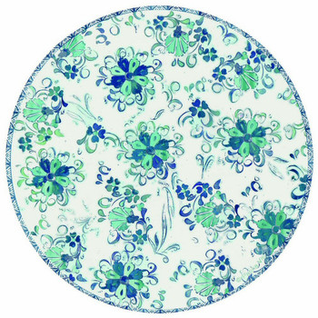 Blue Floral Tile Round Absorbent Beverage Coasters, Set of 8