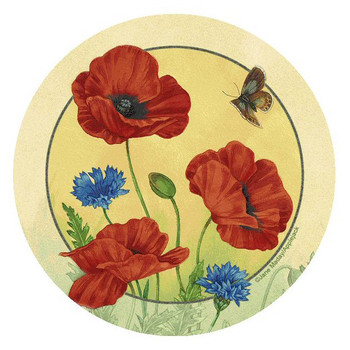 Poppies & Cornflowers Round Beverage Coasters by Jane Maday, Set of 8