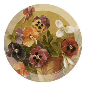 Pansies Flower Beverage Coasters by Fabrice de Villeneuve, Set of 12