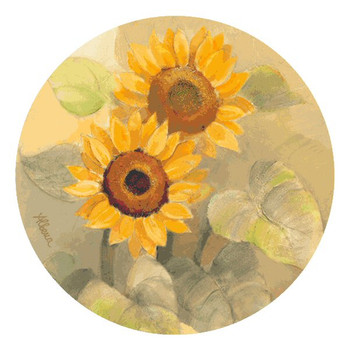 Summer Sunflower I Beverage Coasters by Albena Hristova, Set of 12