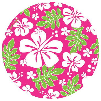 Luau Too Flowers Round Beverage Coasters by BJ Lantz, Set of 12