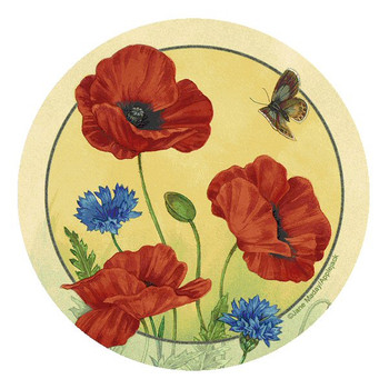 Poppies & Cornflowers Round Beverage Coasters by Jane Maday, Set of 12