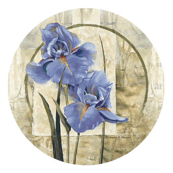 Iris in Bloom Flower Round Beverage Coasters by R. Henson, Set of 12